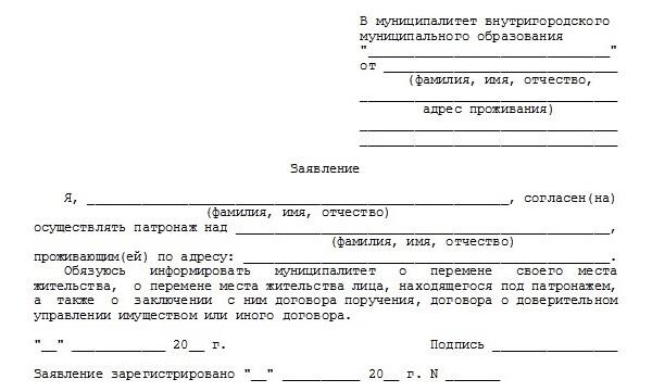 Пакет документов на патронаж